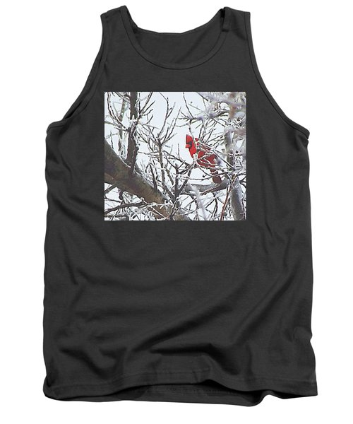 Tank Top featuring the digital art Snowy Red Bird A Cardinal In Winter by Shelli Fitzpatrick