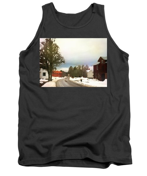 Tank Top featuring the digital art Snowy Street With Red House by Shelli Fitzpatrick