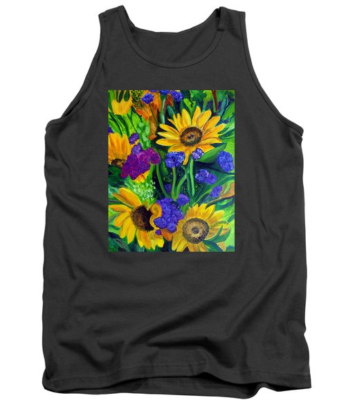 Sunflowers -soaking Up Sunshine Tank Top by Julie Brugh Riffey