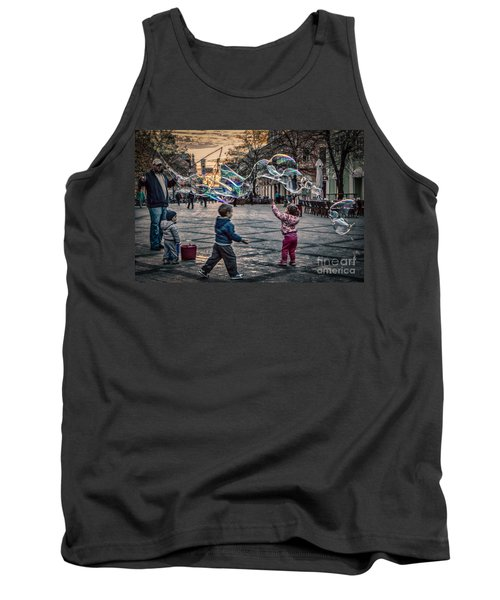 Tank Top featuring the photograph Soap Bubbles Evening Play by Jivko Nakev