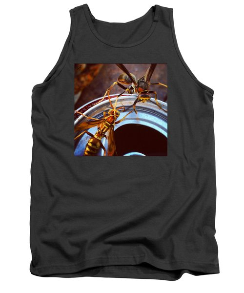Tank Top featuring the photograph Soda Pop Bandits, Two Wasps On A Pop Can  by Shelli Fitzpatrick