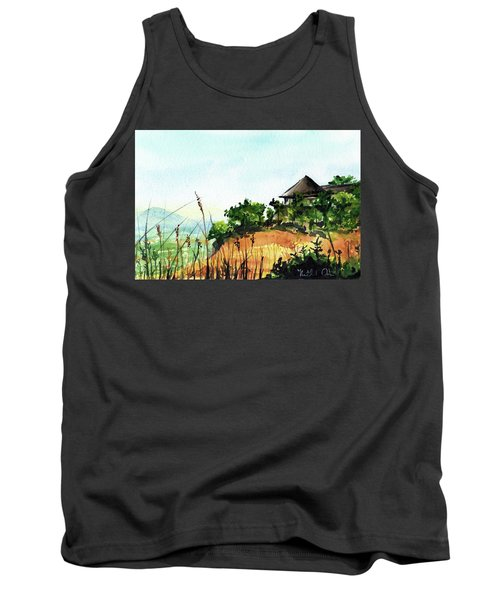 Tank Top featuring the painting Solitary Cottage In Malawi by Dora Hathazi Mendes