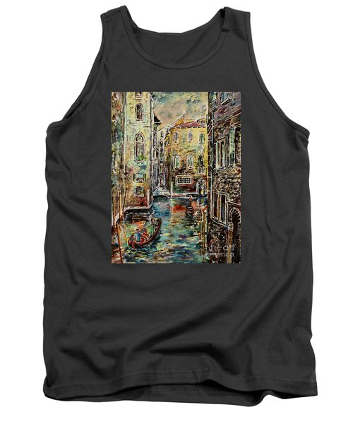 Tank Top featuring the painting Somewhere In Venice by Alfred Motzer