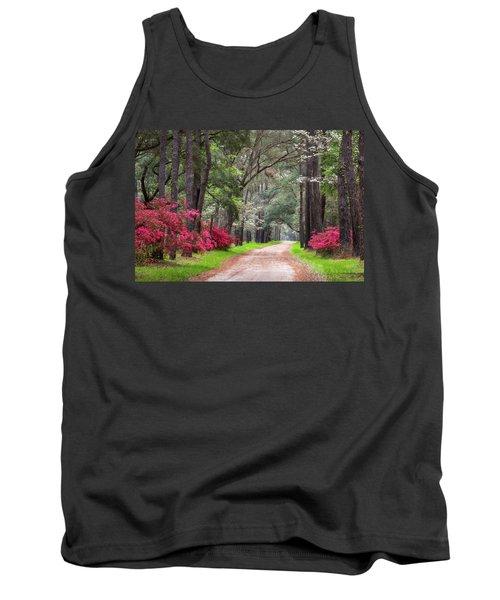 South Carolina Lowcountry Spring Flowers Dirt Road Edisto Island Sc Tank Top
