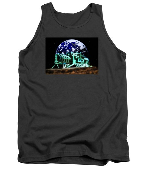 Tank Top featuring the painting Space Station Omega by Mario Carini