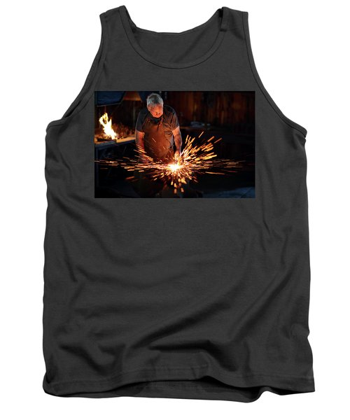 Sparks When Blacksmith Hit Hot Iron Tank Top