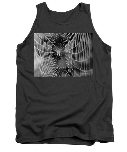 Spider In A Dew Covered Web - Black And White Tank Top
