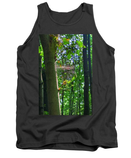 Spider Web In A Forest Tank Top
