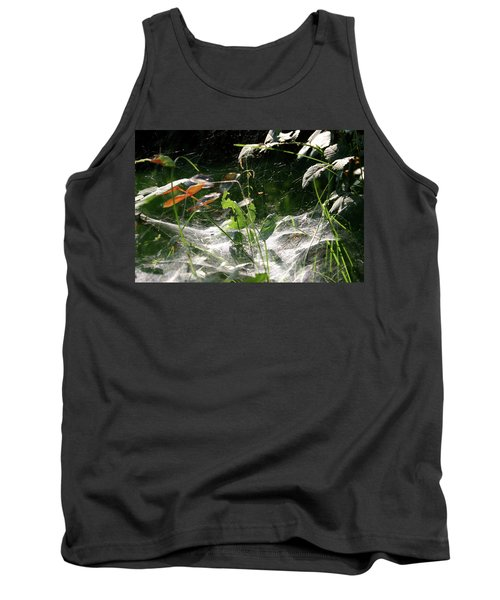 Spiderweb Over Rose Plants Tank Top by Emanuel Tanjala