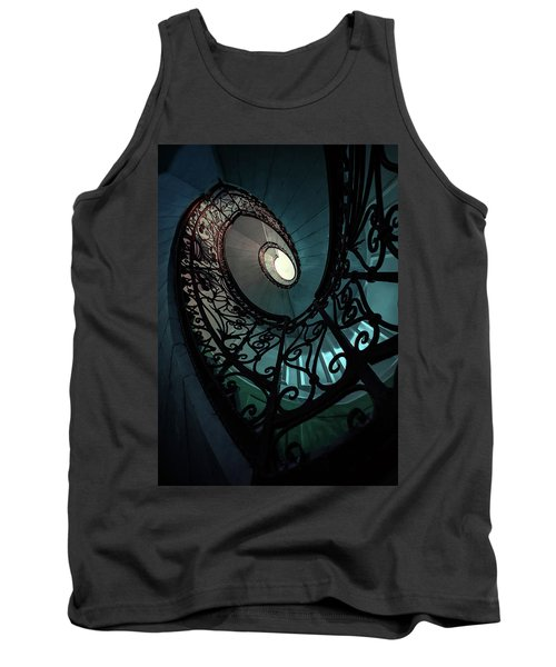 Tank Top featuring the photograph Spiral Ornamented Staircase In Blue And Green Tones by Jaroslaw Blaminsky