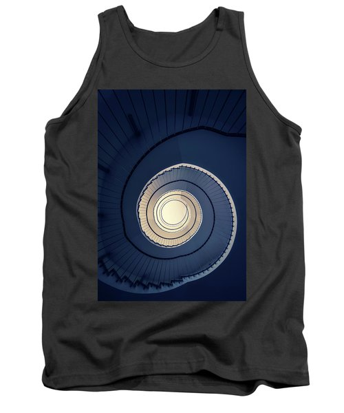 Tank Top featuring the photograph Spiral Staircase In Blue And Cream Tones by Jaroslaw Blaminsky