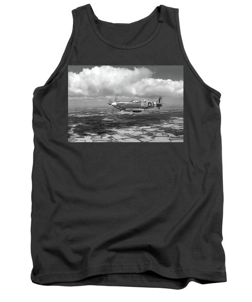 Tank Top featuring the photograph Spitfire Tr 9 Sm520 Bw Version by Gary Eason