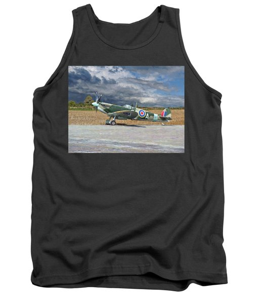 Tank Top featuring the photograph Spitfire Under Storm Clouds by Paul Gulliver