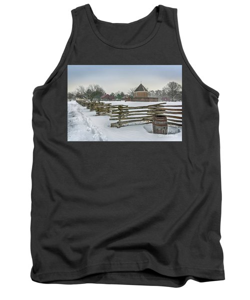 Split Rail Fence In Front Of Colonial Williamsburg Magazine Tank Top