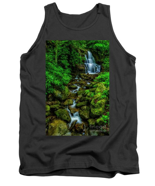 Spring Green Waterfall And Rhododendron Tank Top