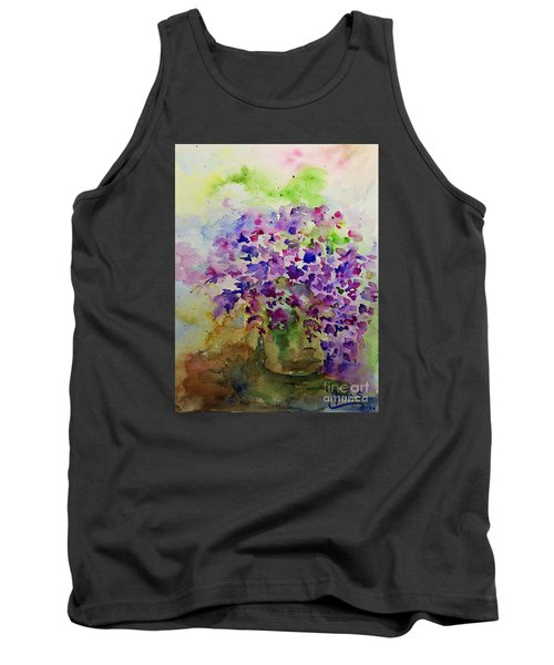 Spring Purple Flowers Watercolor Tank Top