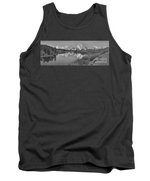 Spring Reflections At Oxbow Bend Black And White Tank Top by Adam Jewell
