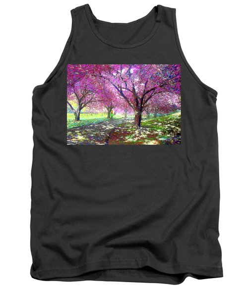 Spring Rhapsody, Happiness And Cherry Blossom Trees Tank Top