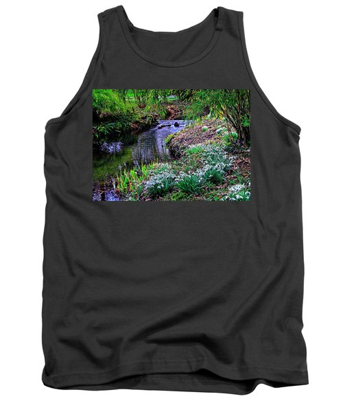 Spring Snowdrops By Stream Tank Top