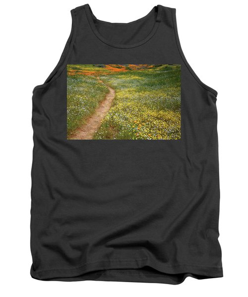 Tank Top featuring the photograph Spring Trail Through A Sea Of Wildflowers At Diamond Lake In California by Jetson Nguyen