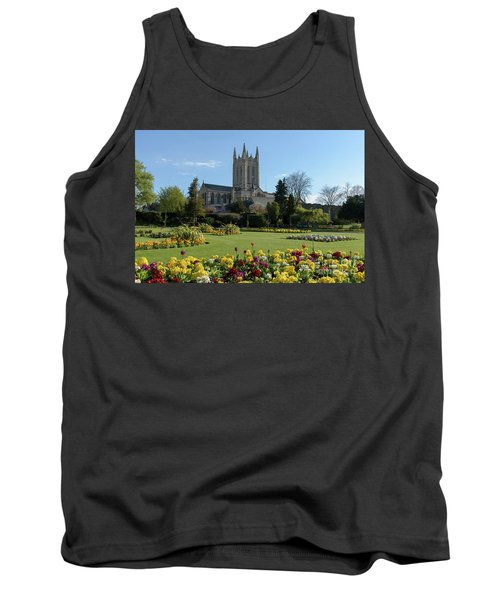 St Edmundsbury Cathedral With Flowers In Foreground Tank Top