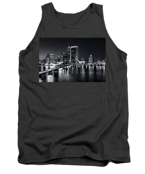 St Johns River Skyline By Night, Jacksonville, Florida In Black And White Tank Top