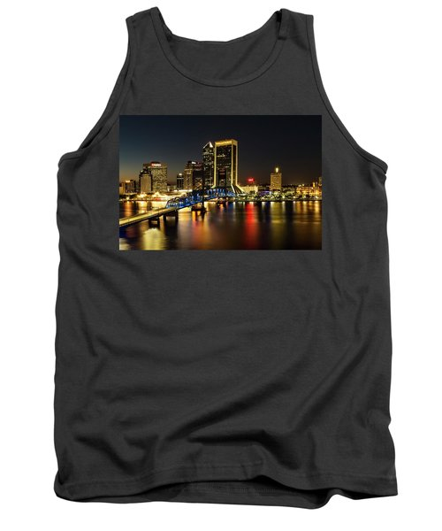 St Johns River Skyline By Night, Jacksonville, Florida Tank Top