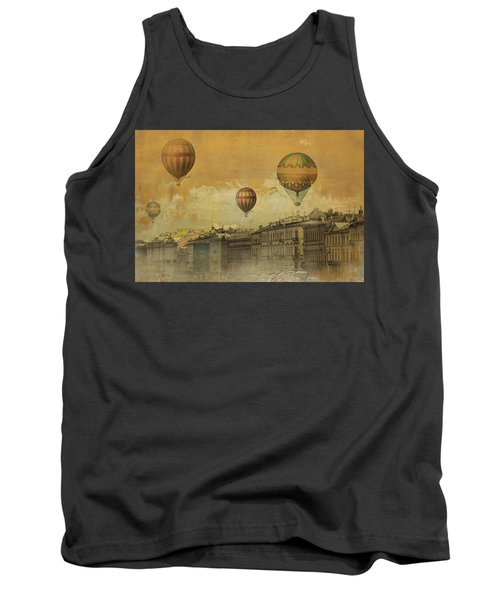Tank Top featuring the digital art St Petersburg With Air Baloons by Jeff Burgess