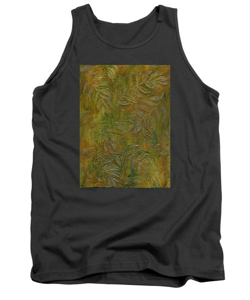 Stamped Textured Leaves Tank Top by Sandra Foster