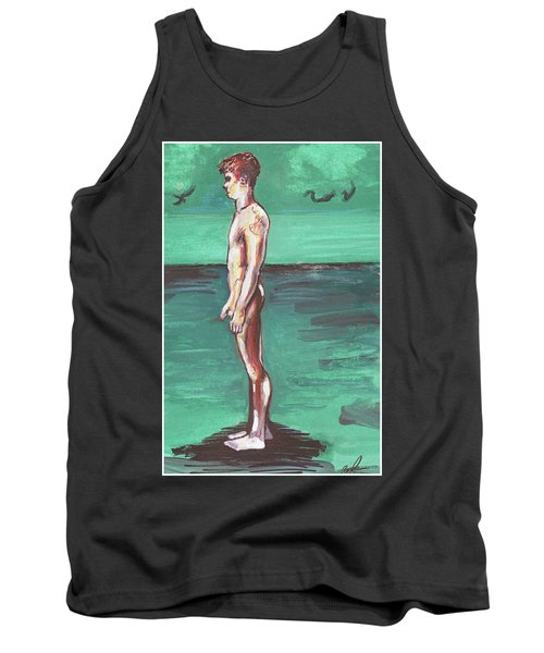 Standig On A Cold Beach With Hesitation  Tank Top