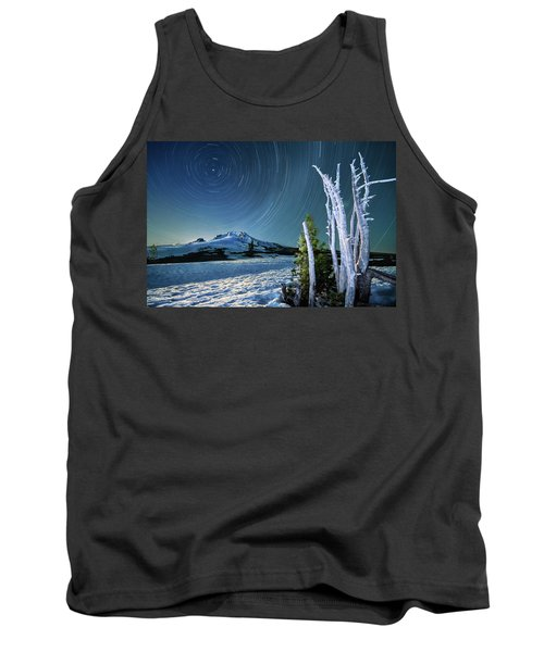Tank Top featuring the photograph Star Trails Over Mt. Hood by William Lee