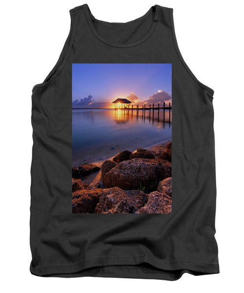 Tank Top featuring the photograph Starburst Sunset Over House Of Refuge Pier In Hutchinson Island At Jensen Beach, Fla by Justin Kelefas