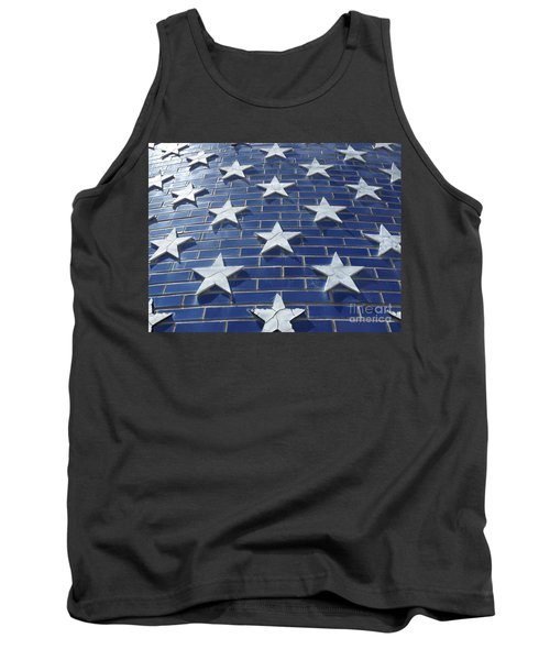 Stars On Blue Brick Tank Top by Erick Schmidt