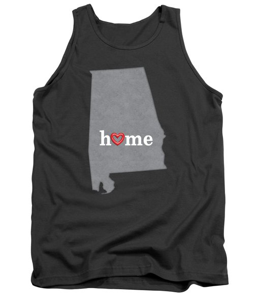 State Map Outline Alabama With Heart In Home Tank Top
