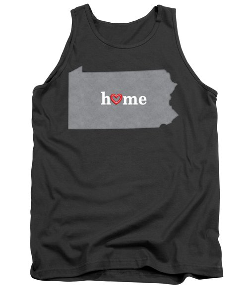 State Map Outline Pennsylvania With Heart In Home Tank Top