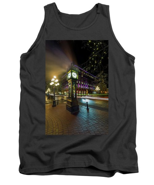 Steam Clock In Gastown Vancouver Bc At Night Tank Top