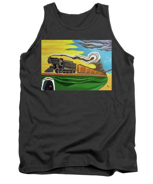 Tank Top featuring the painting Steaming West Bound by Margaret Harmon