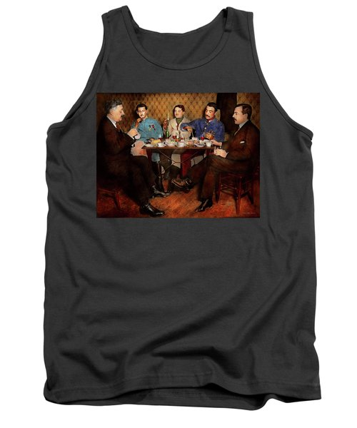 Tank Top featuring the photograph Steampunk - Bionic Three Having Tea 1917 by Mike Savad