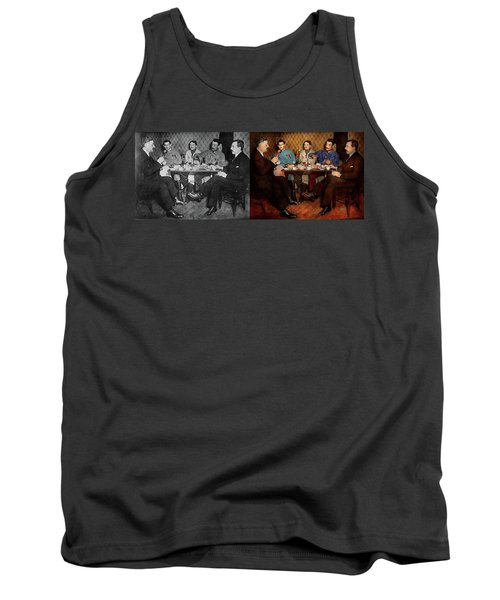 Tank Top featuring the photograph Steampunk - Bionic Three Having Tea 1917 - Side By Side by Mike Savad