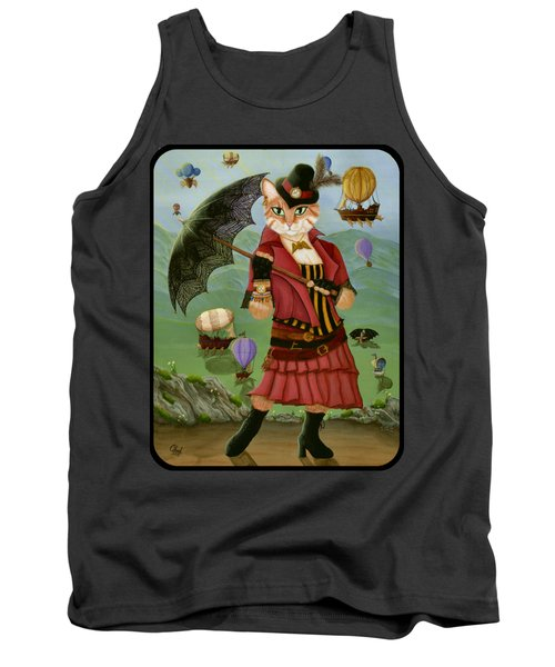 Tank Top featuring the painting Steampunk Cat Gal - Victorian Cat by Carrie Hawks