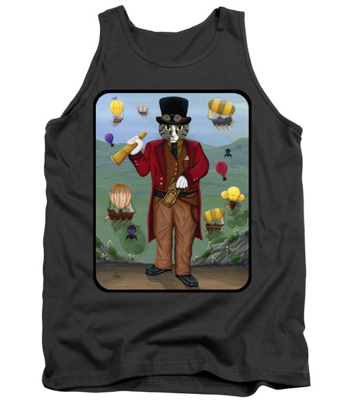 Tank Top featuring the painting Steampunk Cat Guy - Victorian Cat by Carrie Hawks