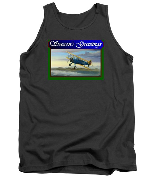 Tank Top featuring the painting Stearman Christmas Card by Stuart Swartz