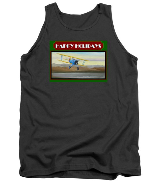 Tank Top featuring the painting Stearman Morning Flight Christmas Card by Stuart Swartz