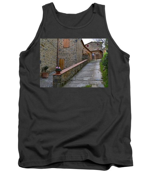 Steep Street In Montalcino Italy Tank Top