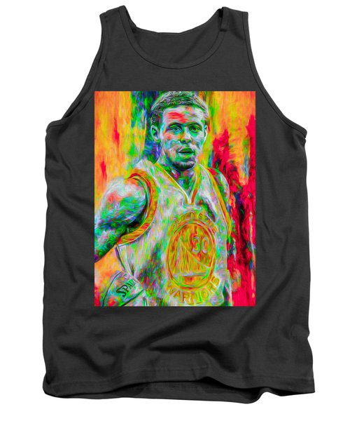 Stephen Curry Golden State Warriors Digital Painting Tank Top by David Haskett
