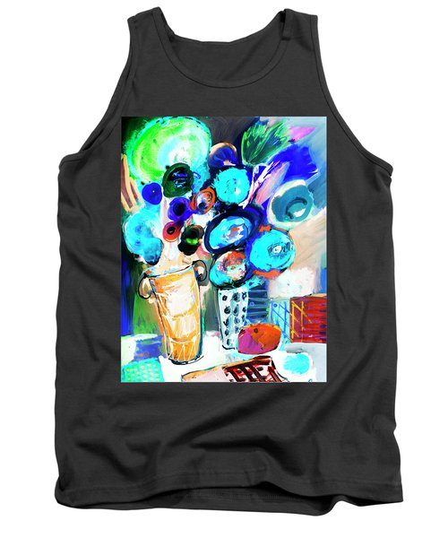 Still Life With Blue Flowers Tank Top by Amara Dacer