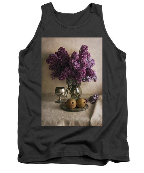 Tank Top featuring the photograph Still Life With Pears And Fresh Lilac by Jaroslaw Blaminsky