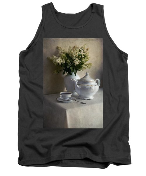 Still Life With White Tea Set And Bouquet Of White Flowers Tank Top by Jaroslaw Blaminsky