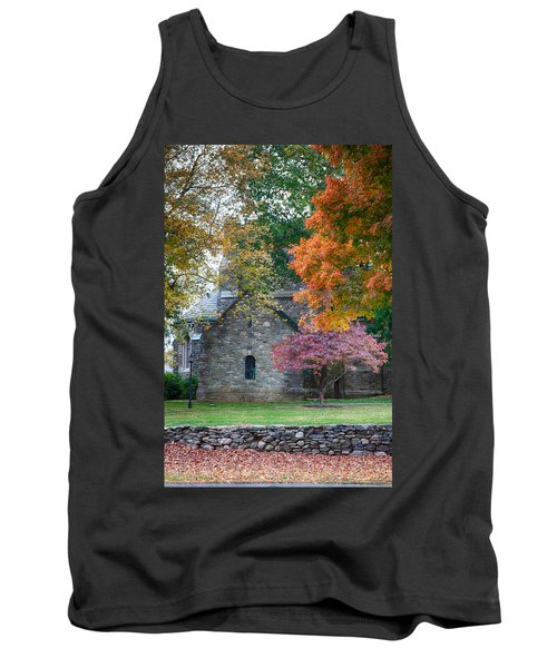 Stone Church In Pomfret Ct In Autumn Tank Top