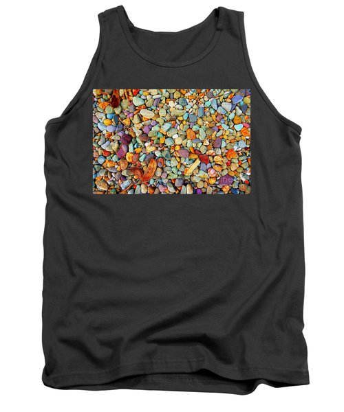 Tank Top featuring the photograph Stones And Barks On Beach by Christopher Shellhammer